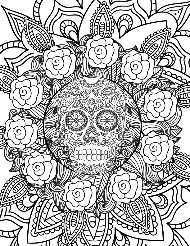 Skull Design Coloring Page