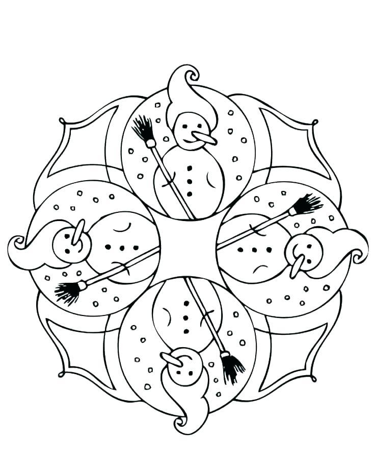 Snowman Design Mandala Coloring Page