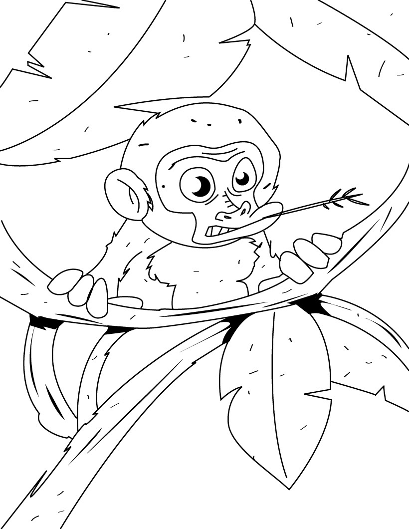 Free printable monkey coloring pages for kids Coloring book