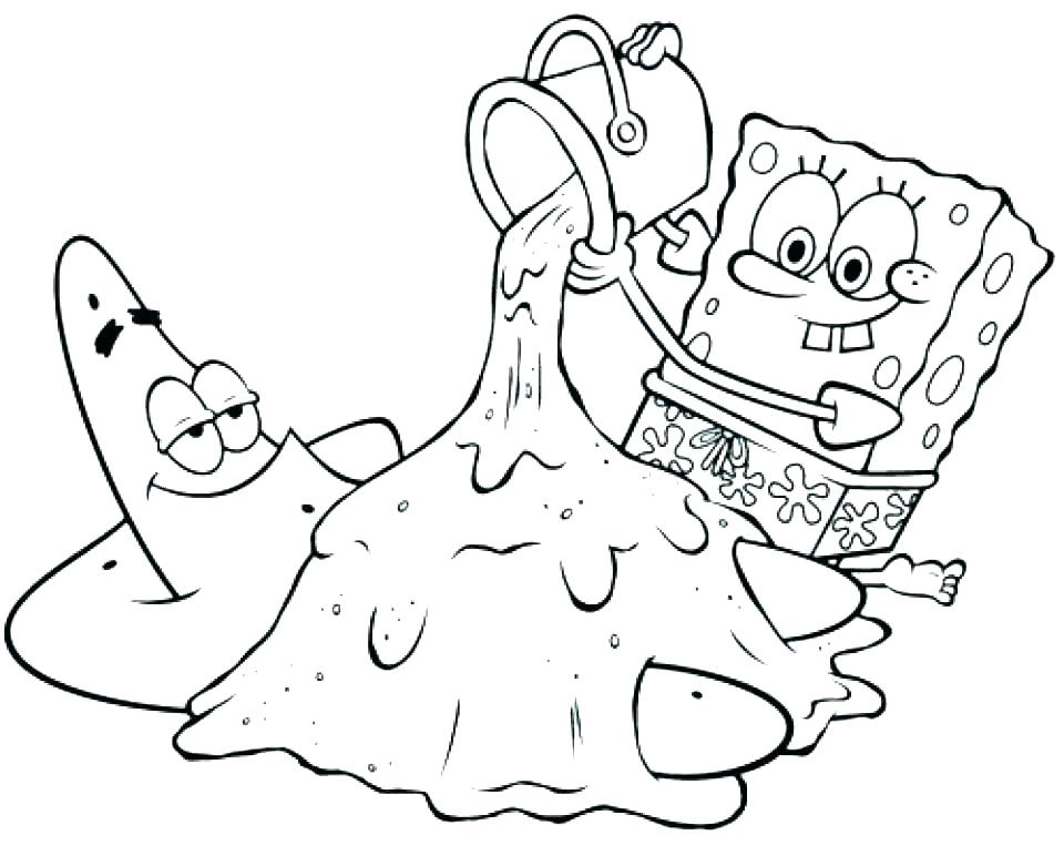 Spongebob Beach Coloring Page
