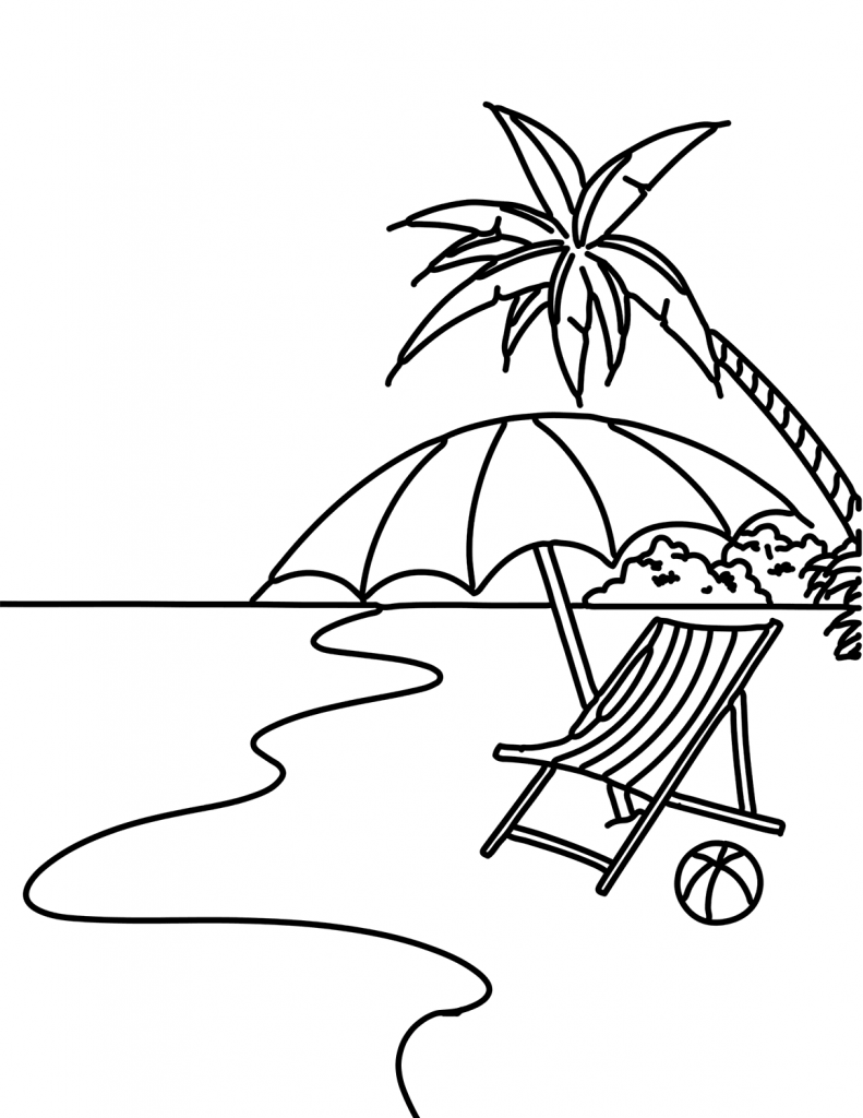 Spot at the Beach Coloring Page
