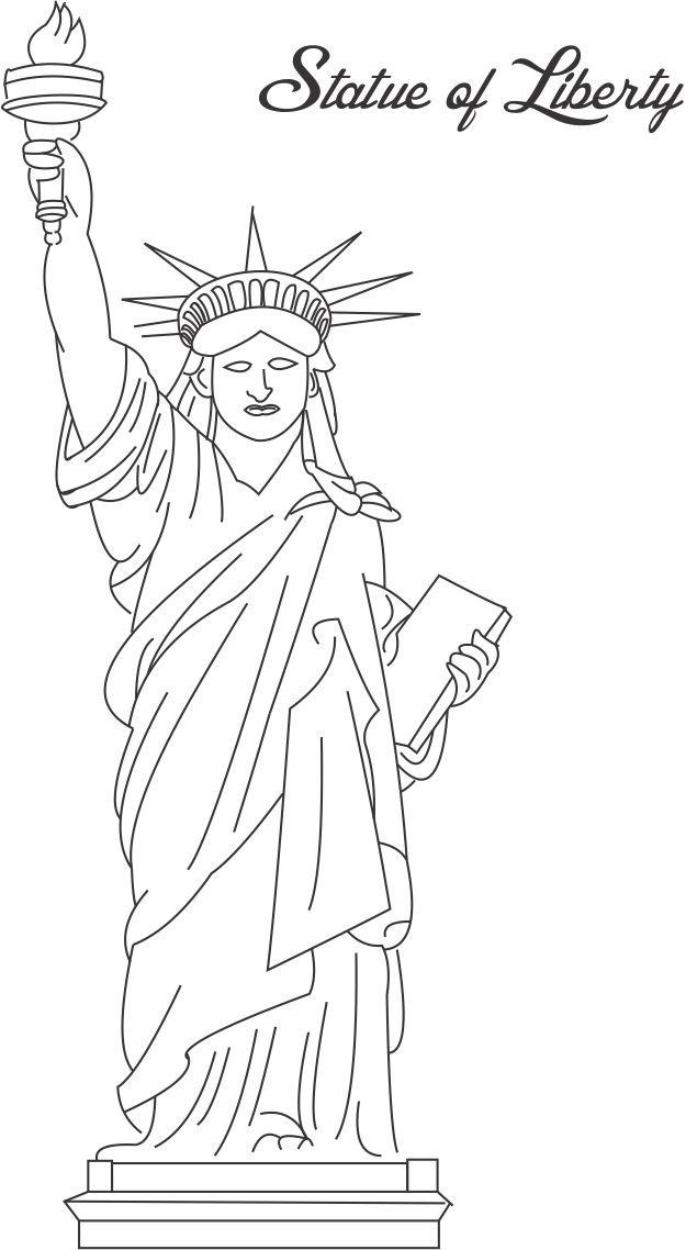 graphic relating to Printable Statue of Liberty Template named Totally free Printable Statue of Freedom Coloring Web pages For Small children