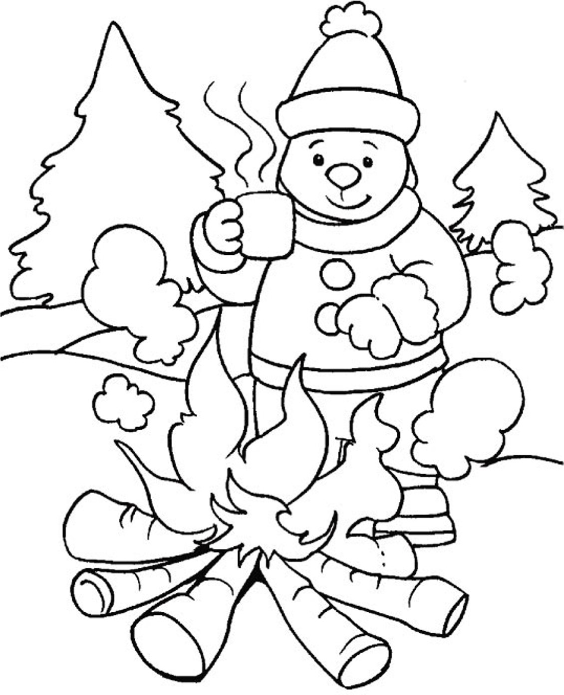winter activities coloring pages | Free Printable Winter Coloring Pages For Kids