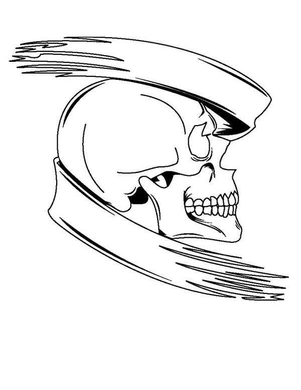Tattoo Banner Skull Coloring Page