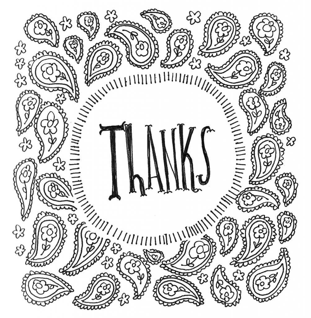Thanks Design Coloring Page