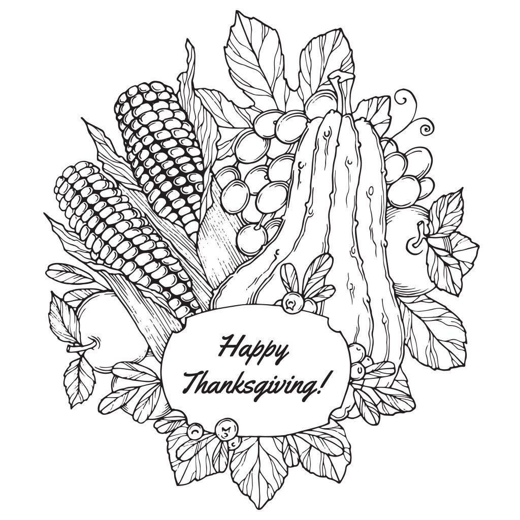 Thanksgiving Harvest Arrangement Coloring Page