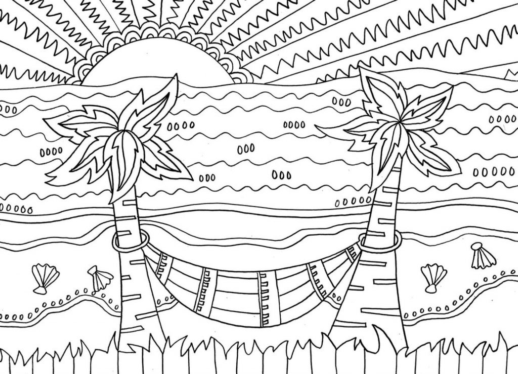 Tropical Beach Coloring Pages