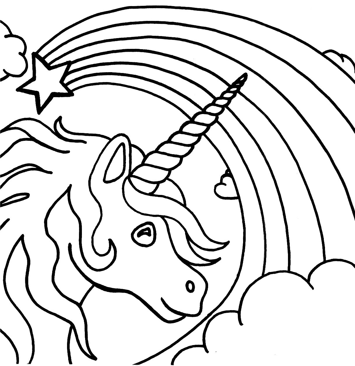 Unicorn And Rainbow Coloring Page