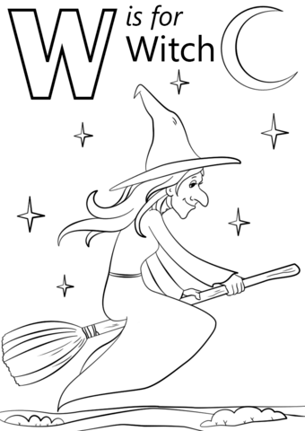 W is For Witch Coloring Page