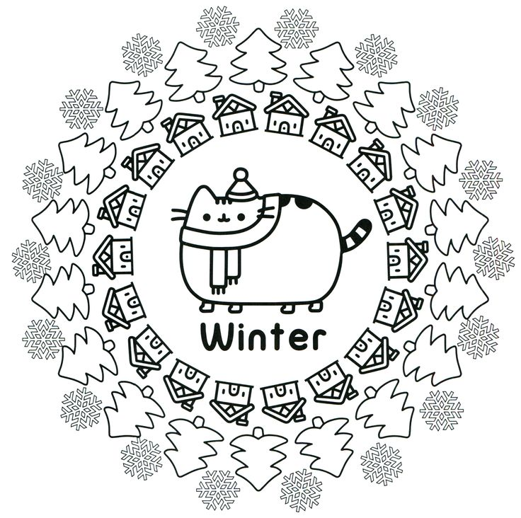 Winter Cat Coloring Page