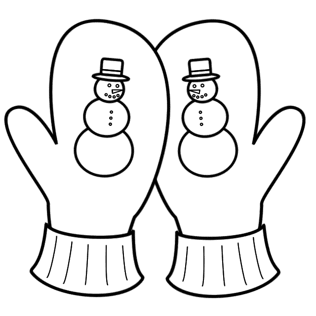 Winter Snowman Gloves Coloring Page