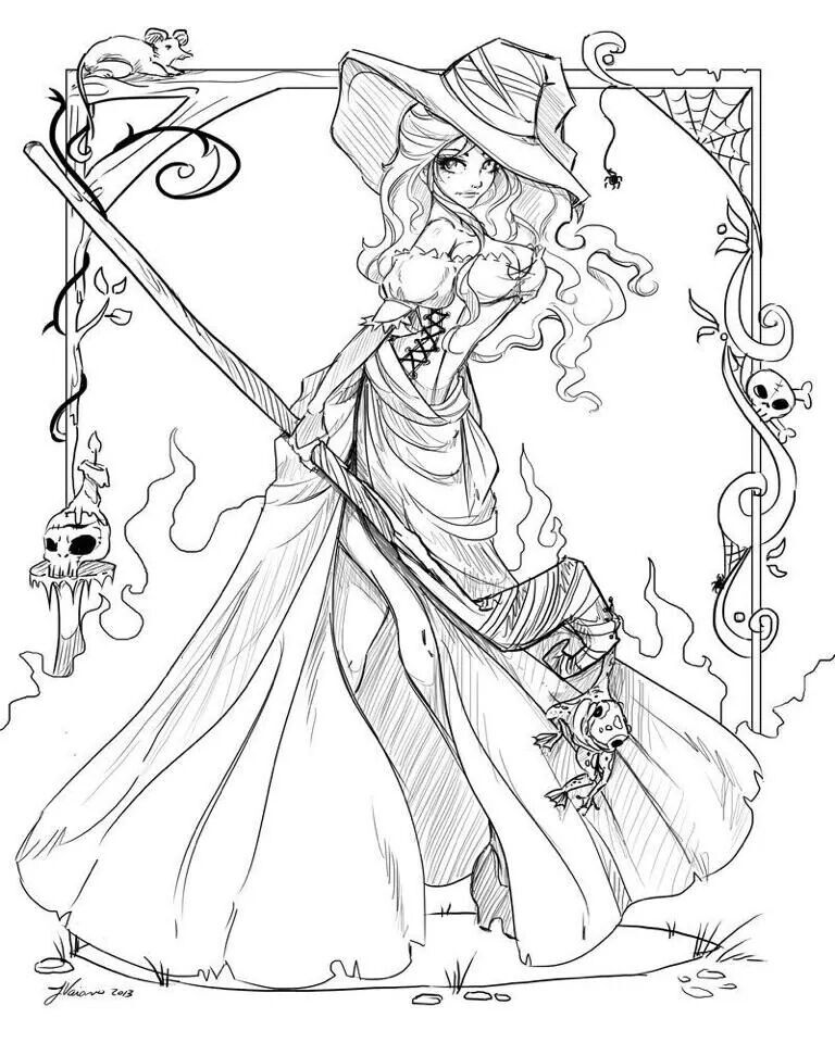 Witch Art Coloring Page for Adults
