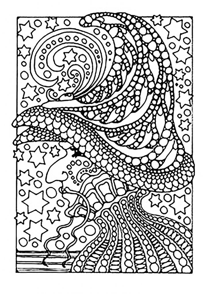 Witch Coloring Page for Adults