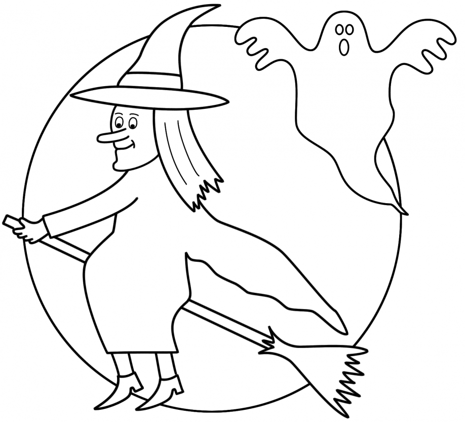 Witch And Ghost Halloween Coloring Page