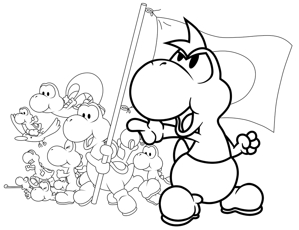 free printable yoshi coloring pages for kids - Yoshi Coloring Pages