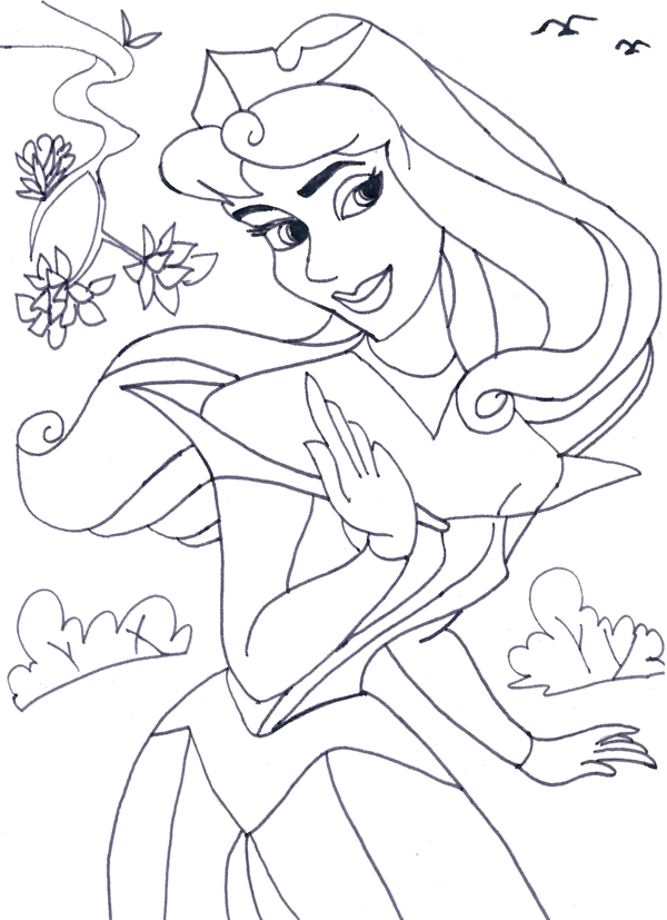 Princess Aurora Free Coloring Pages