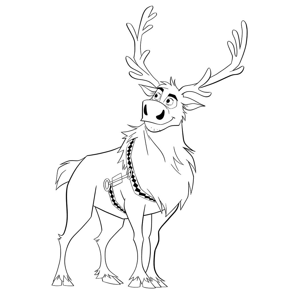 Sven Reindeer Frozen Coloring Page