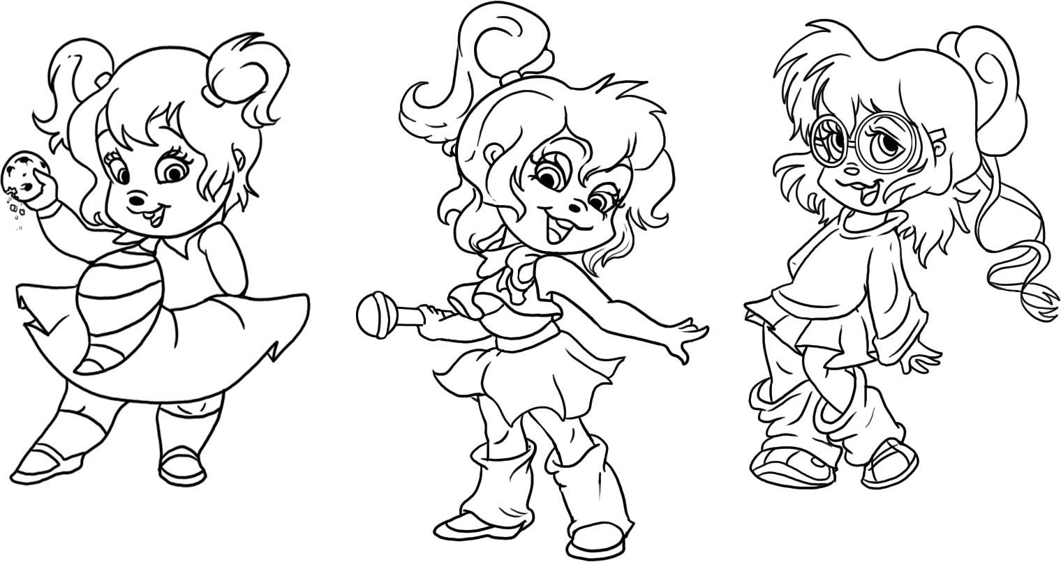free chipettes coloring pages - photo#3