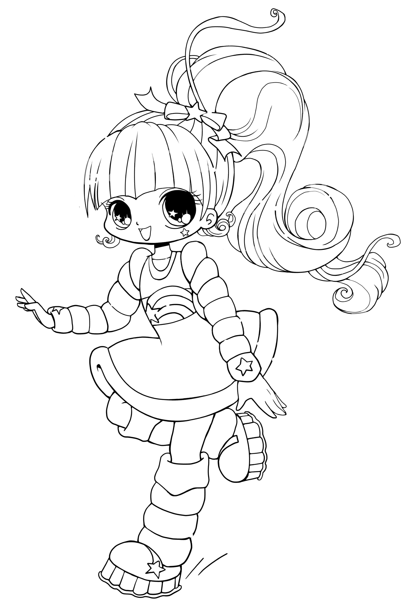 Free printable chibi coloring pages for kids for Cute coloring book pages