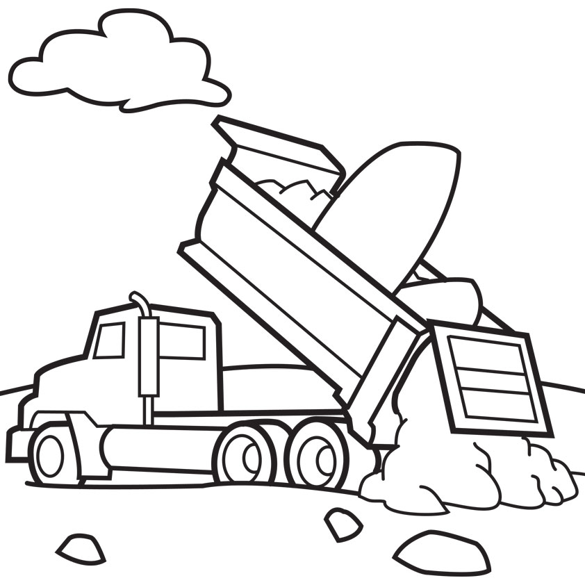 Impertinent image throughout printable truck coloring page