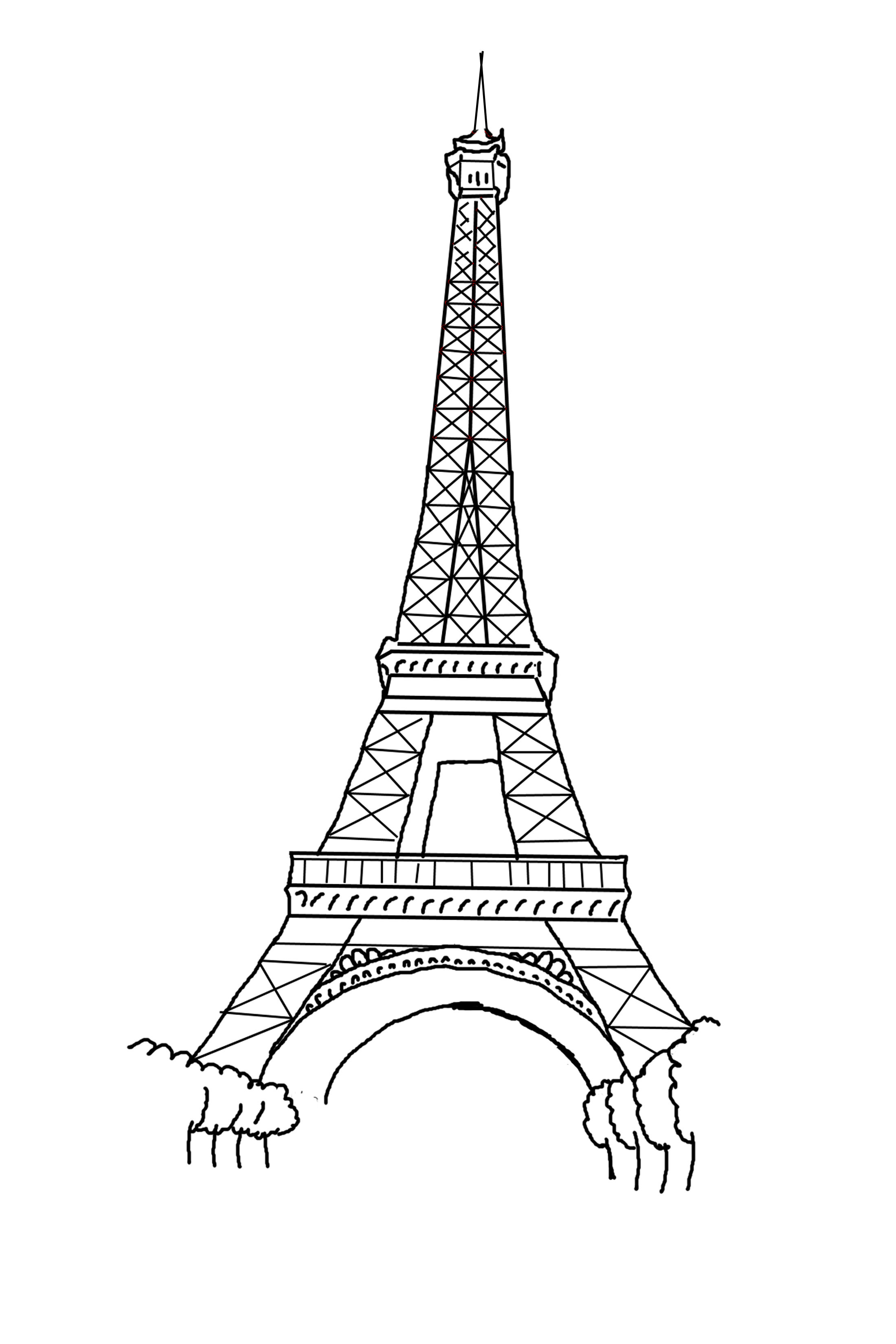 Free printable eiffel tower coloring pages for kids for Eiffel tower model template