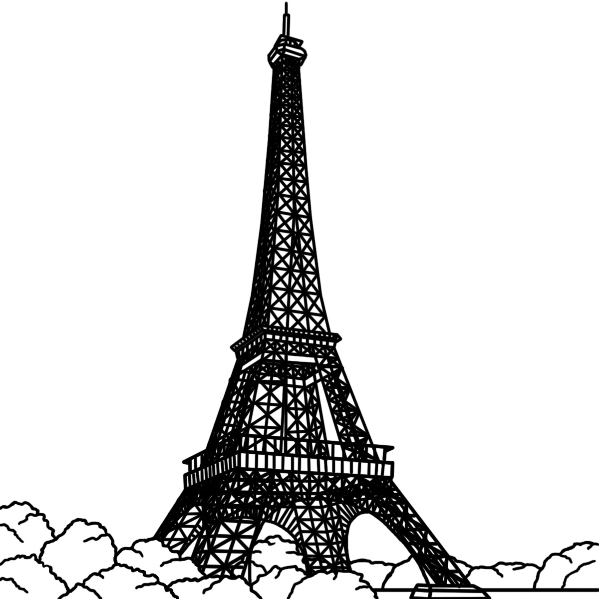 coloring pages eifell tower | Free Printable Eiffel Tower Coloring Pages For Kids