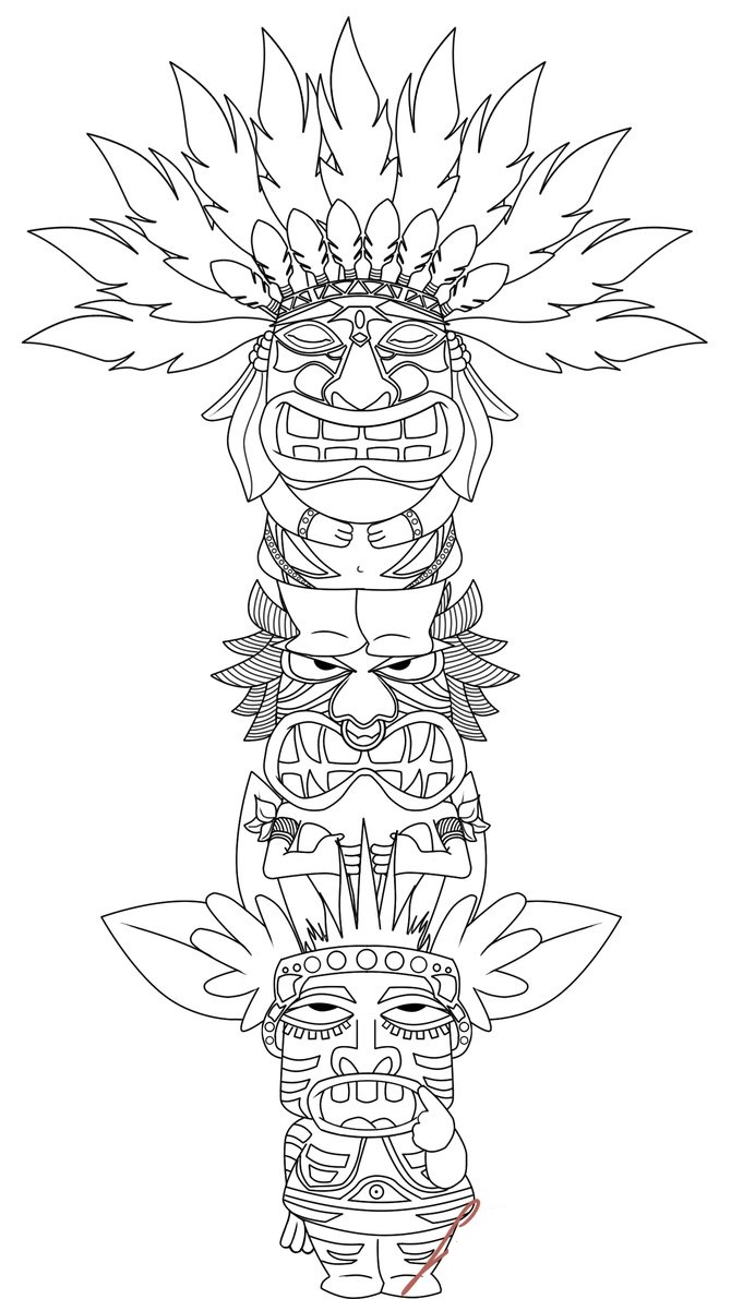 Totem Pole Coloring Page Sketch Coloring Page