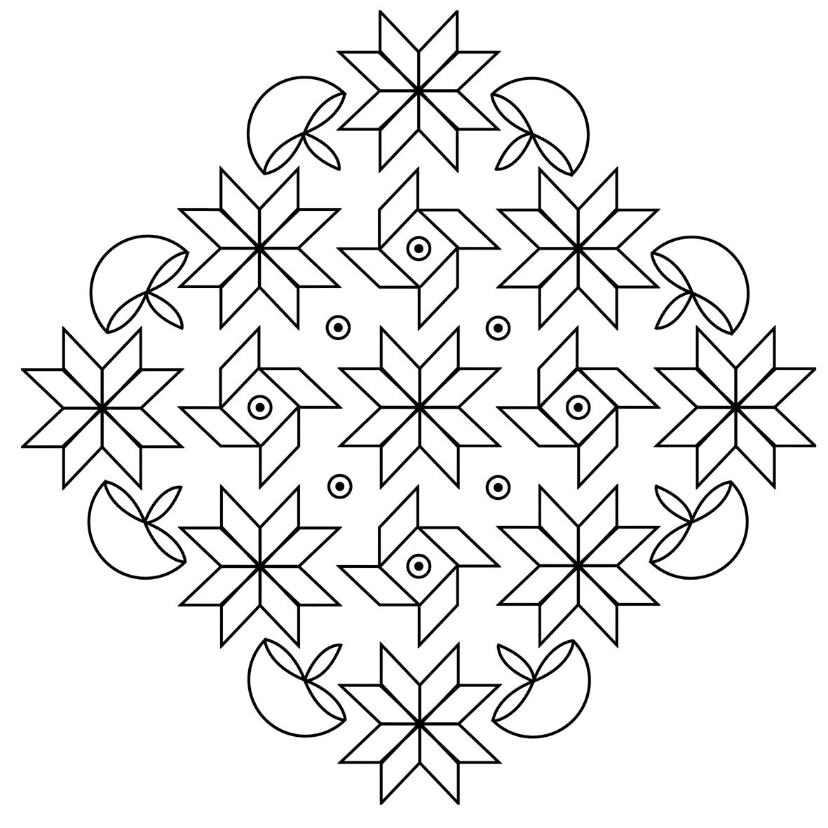Free Coloring Pages of Rangoli