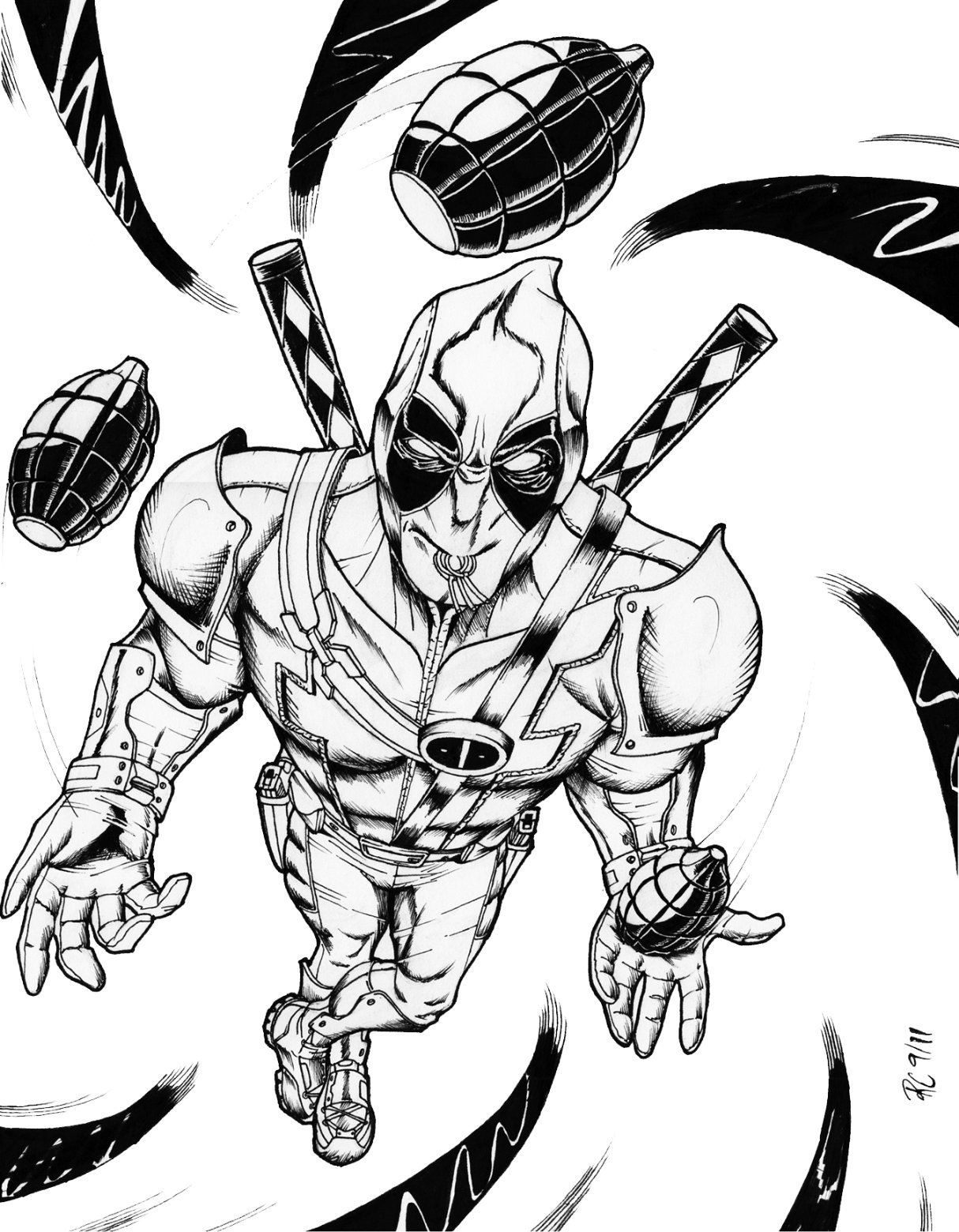 Free Printable Deadpool Coloring