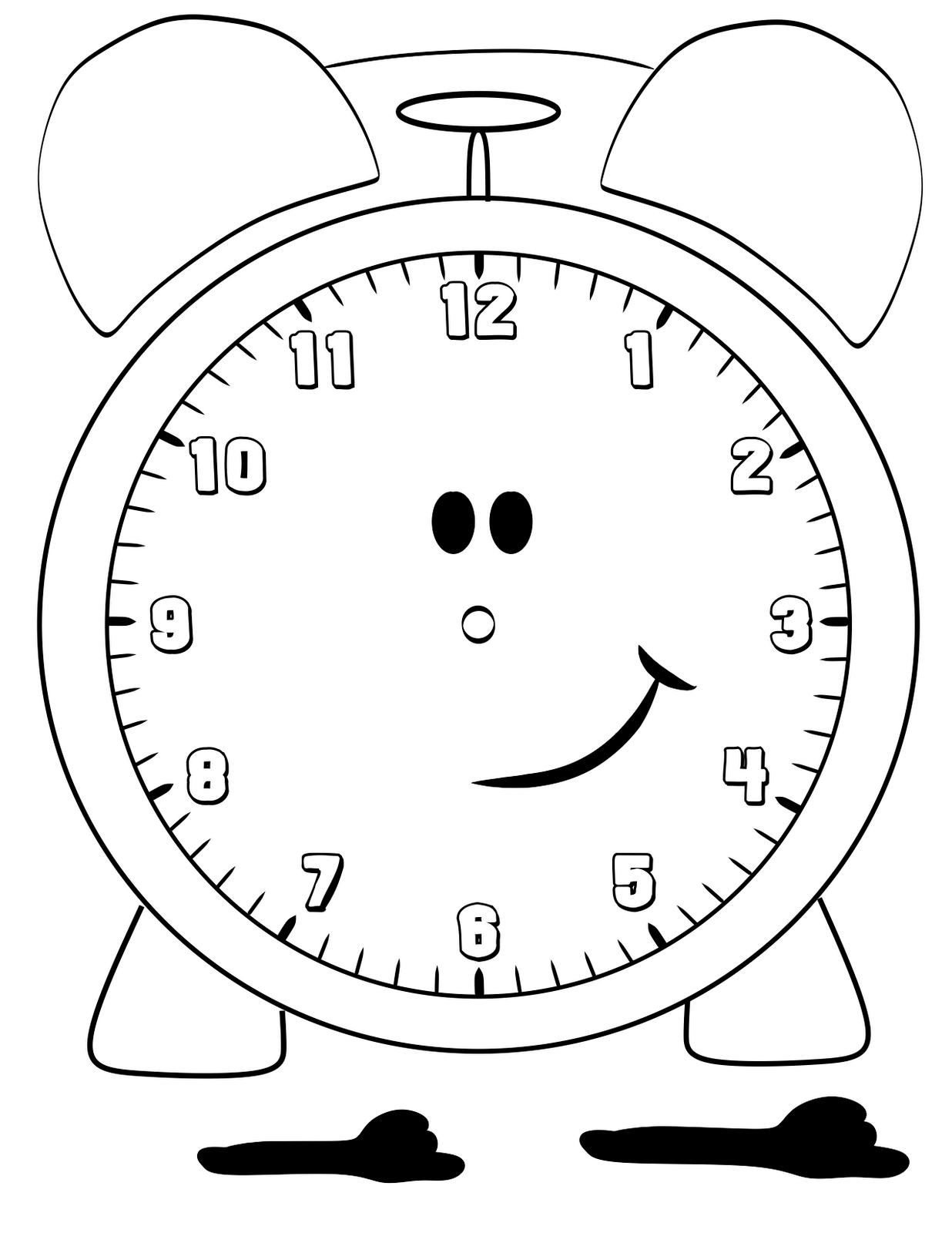 Free printable clock coloring pages for kids for Printable clock hands template