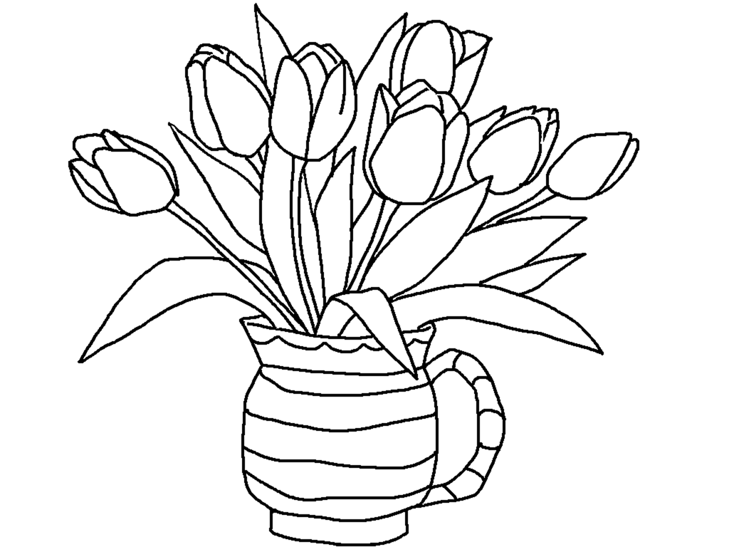coloring pages flowers printable - free printable tulip coloring pages for kids
