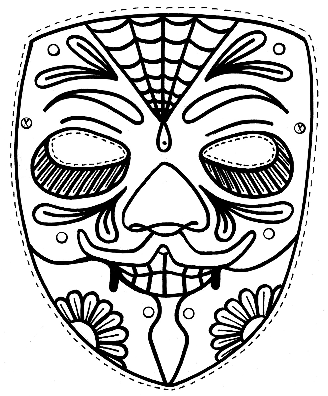 Free printable mask coloring pages for kids for Kabuki mask template
