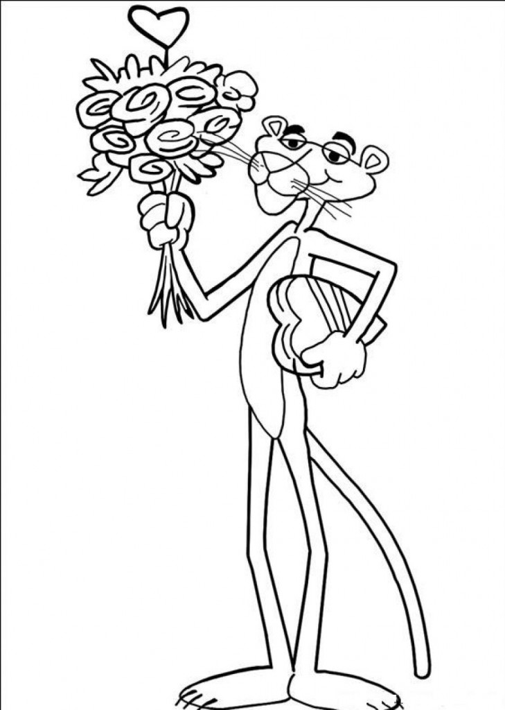 Pink Panther With Flowers Coloring Pages