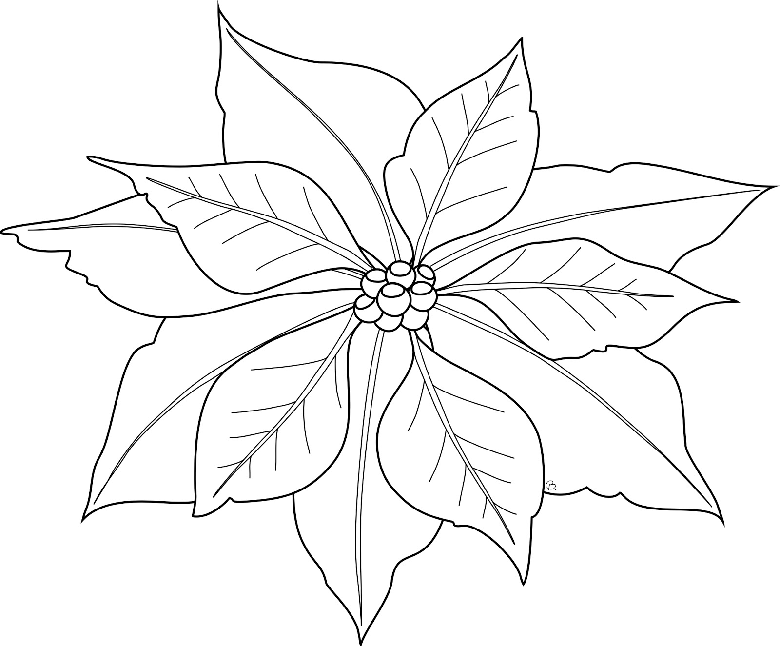 coloring pages of christmas flowers - photo#17