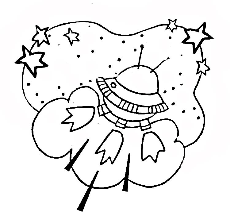 Space Ship In Outer Space Coloring Page