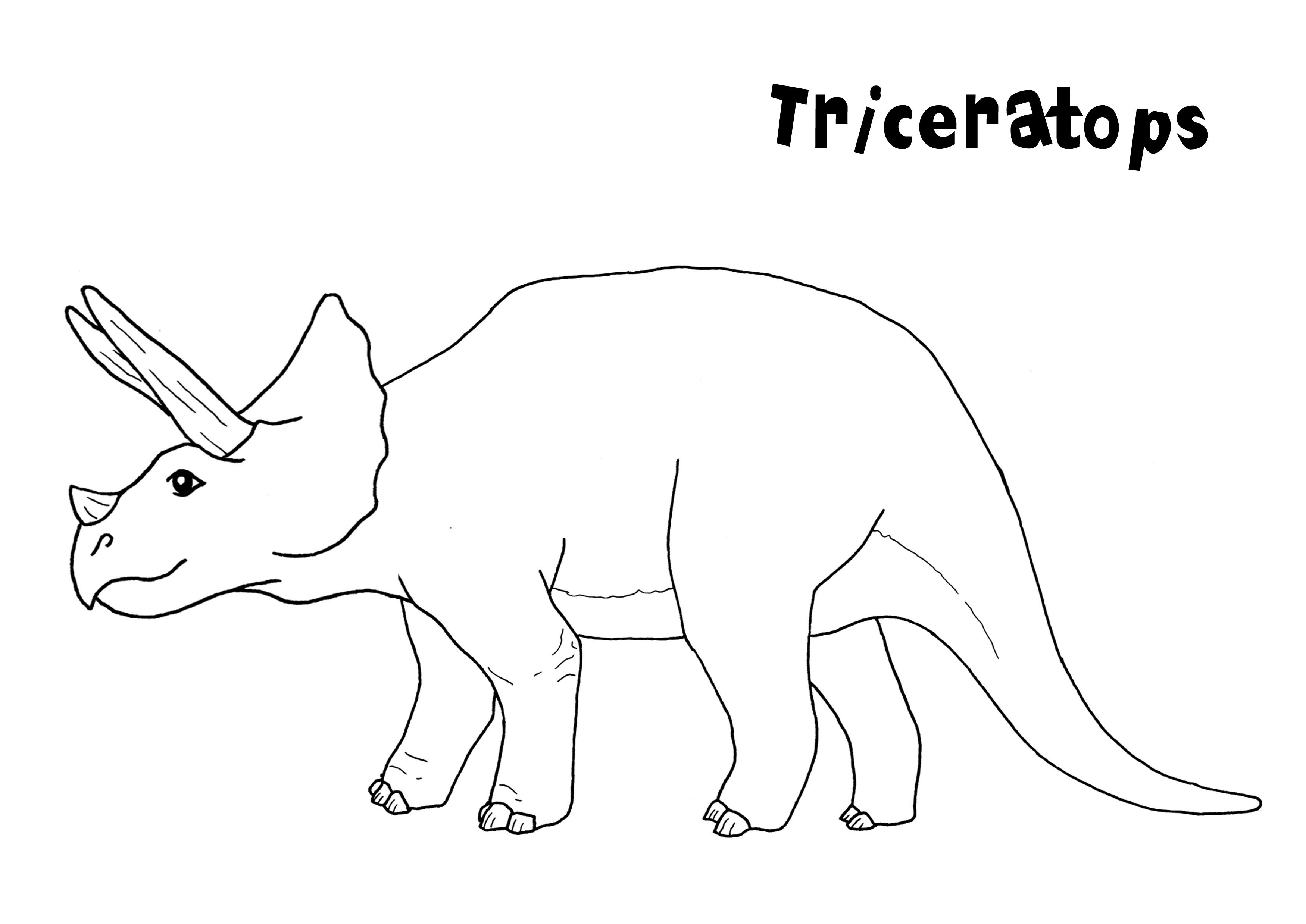 Triceratops coloring page for kids