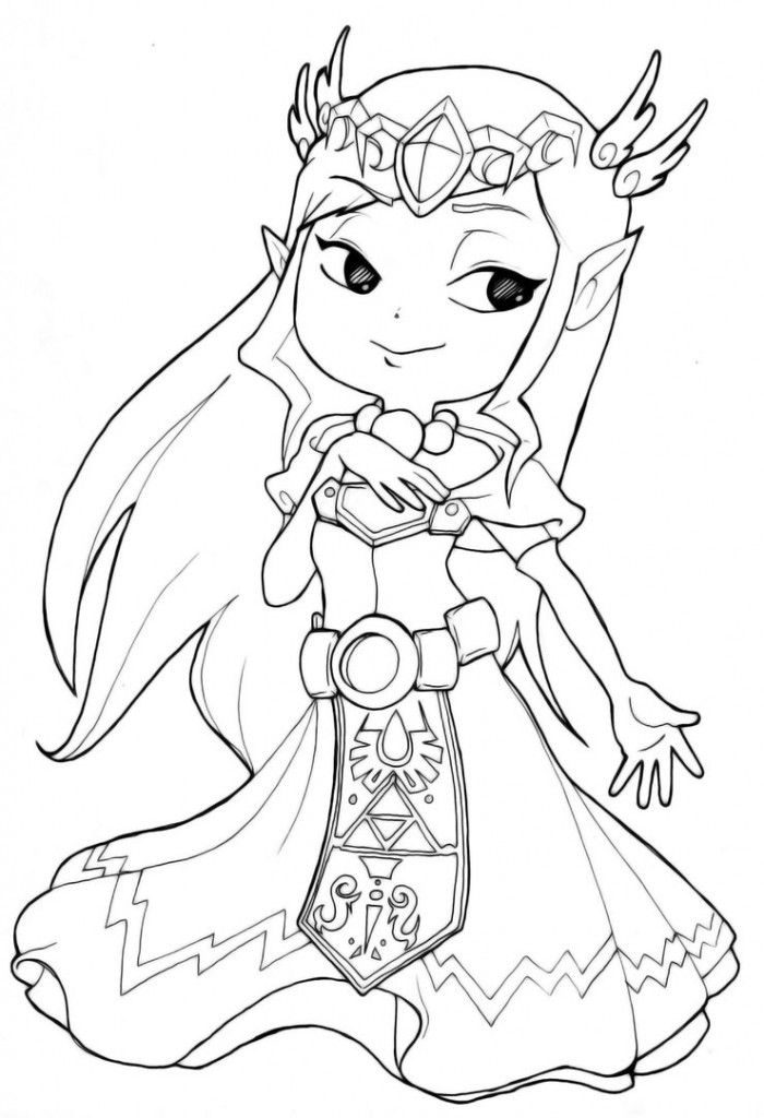 Baby Zelda Printable Coloring Page