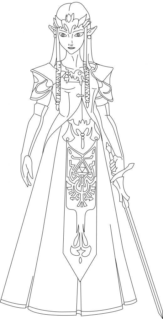 Beautiful Zelda Coloring Page