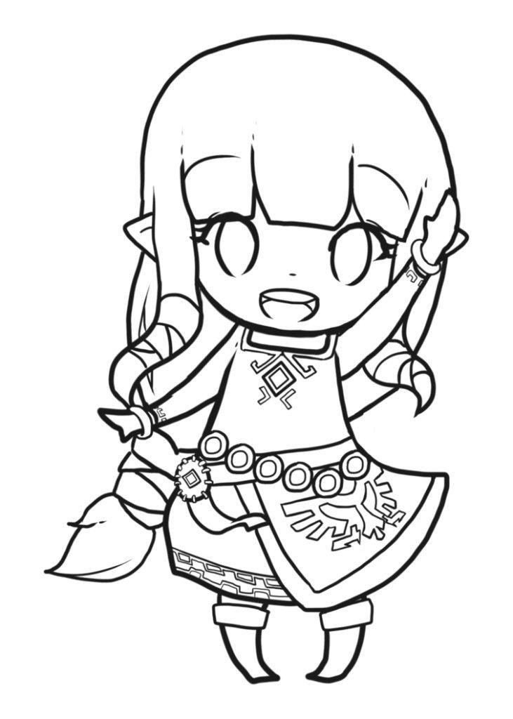 Chibi Zelda Coloring Page
