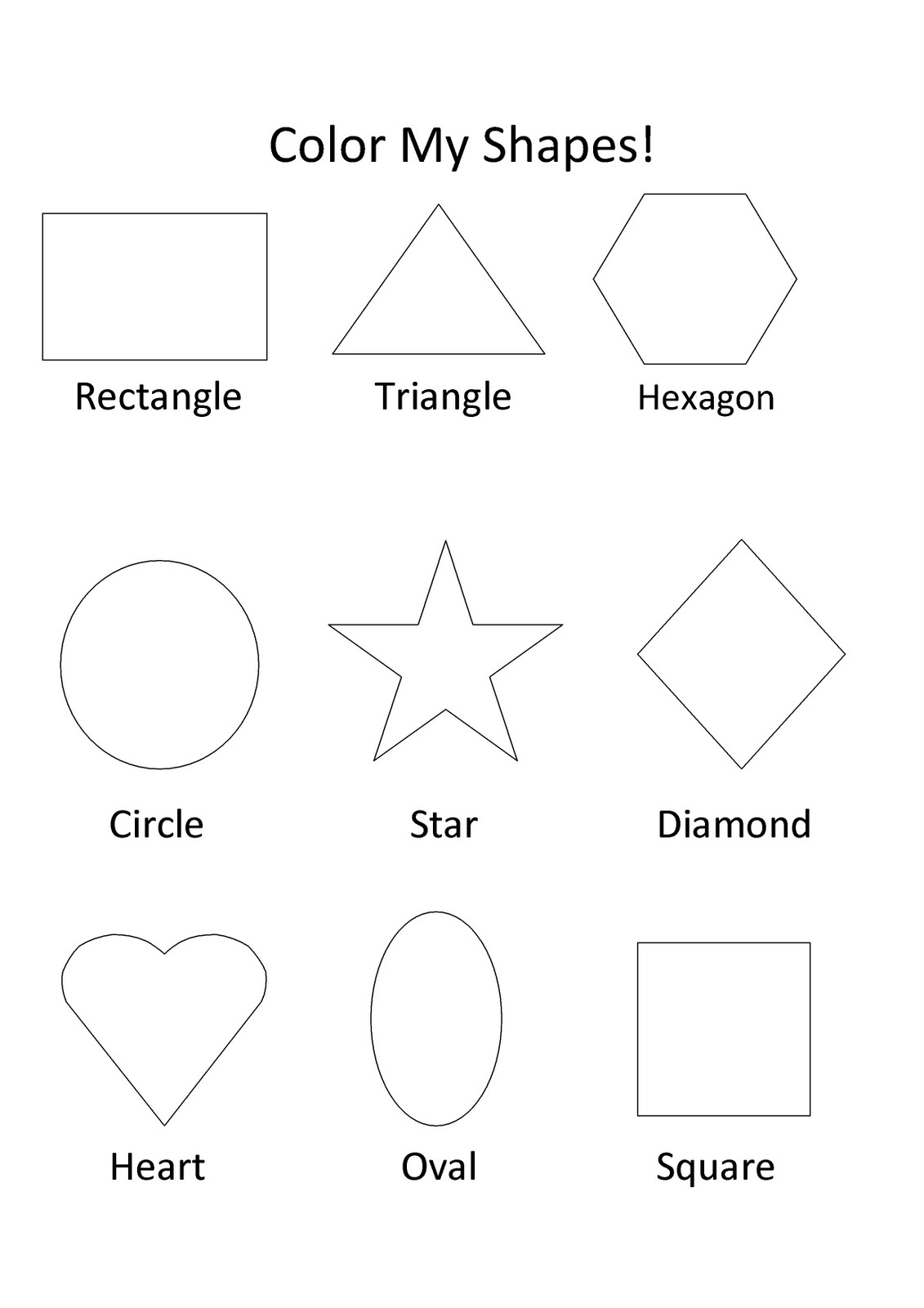Shapes For Kids Worksheets
