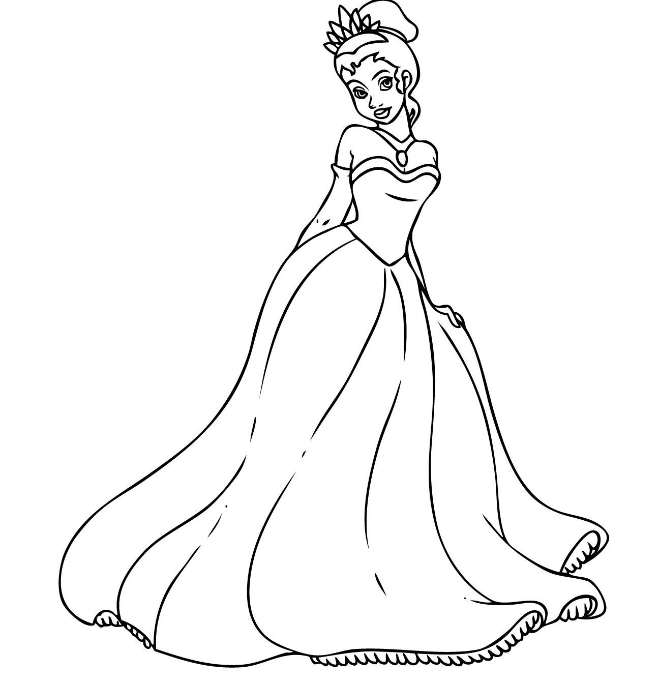 coloring page Princess and the Frog | Princess coloring pages ... | 1343x1296