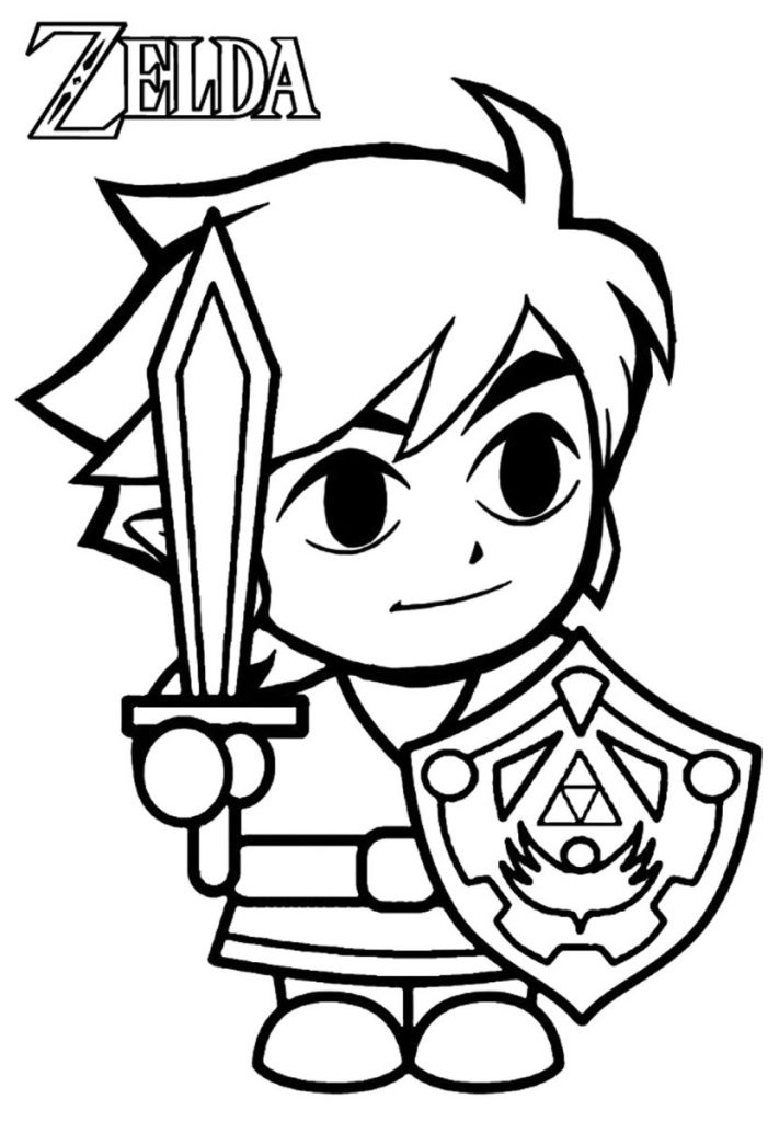 Cute Legend of Zelda Link Coloring Page