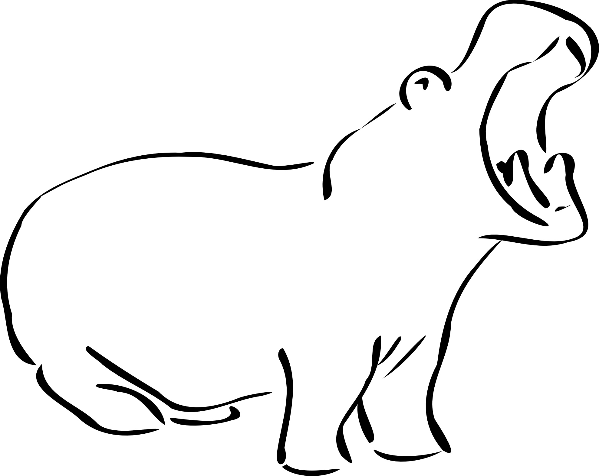 Coloring pages: Coloring pages: Hippopotamus, printable for kids ... | 1575x1979
