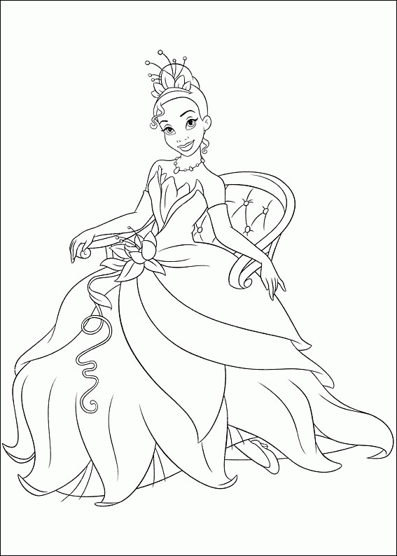 Princess Tiana Coloring Pages Printable