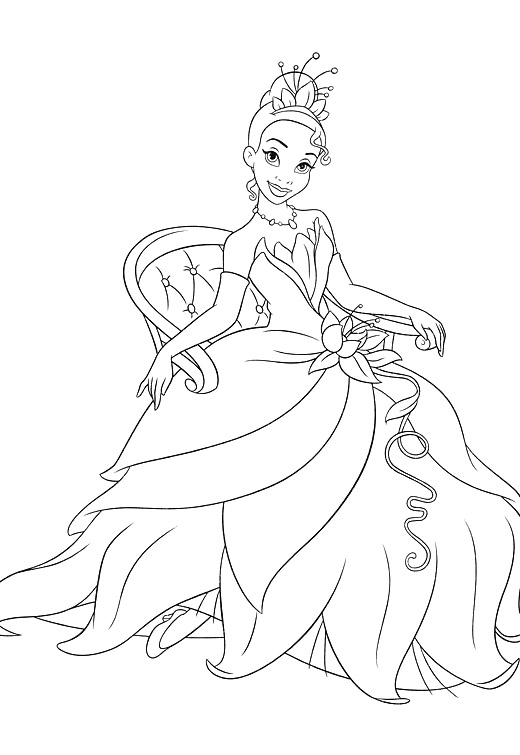 Sitting Princess Tiana Coloring Pages