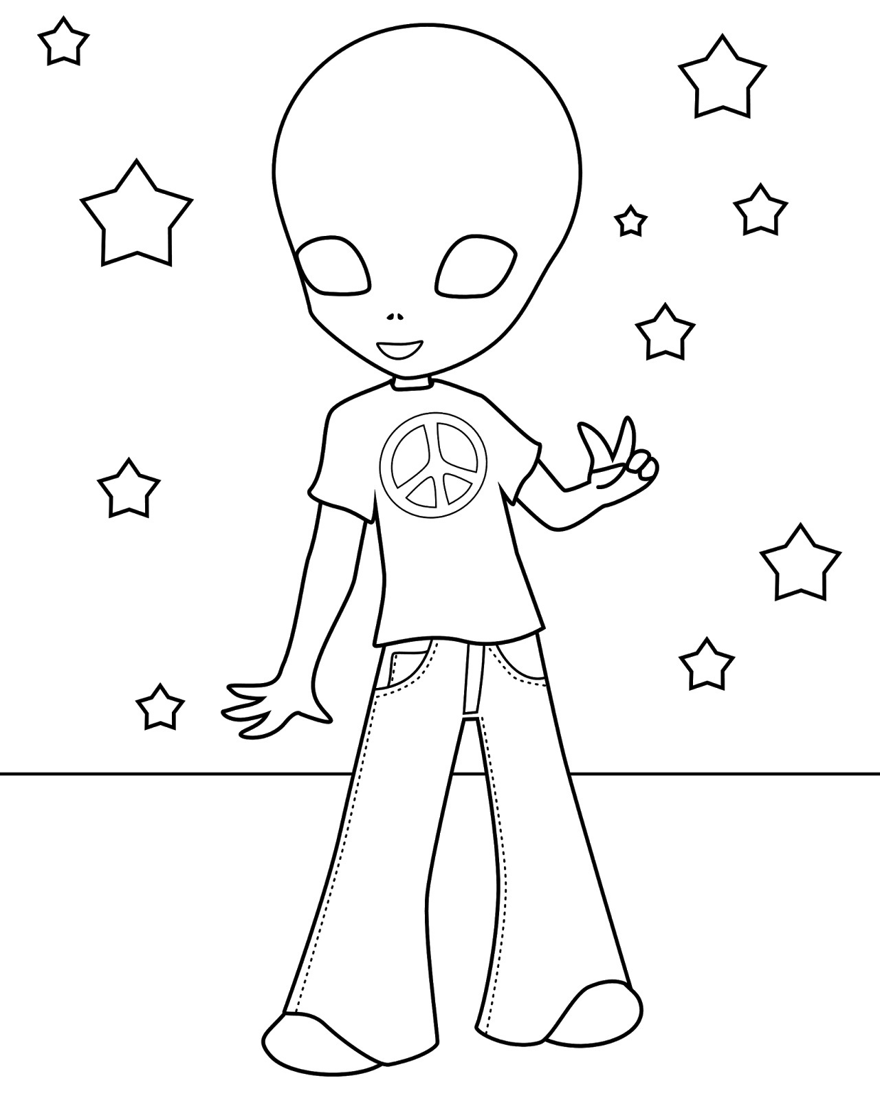 Free Printable Alien Coloring Pages