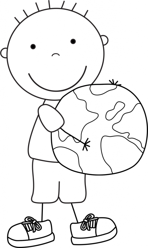 Cartoon Boy And Earth Coloring Page