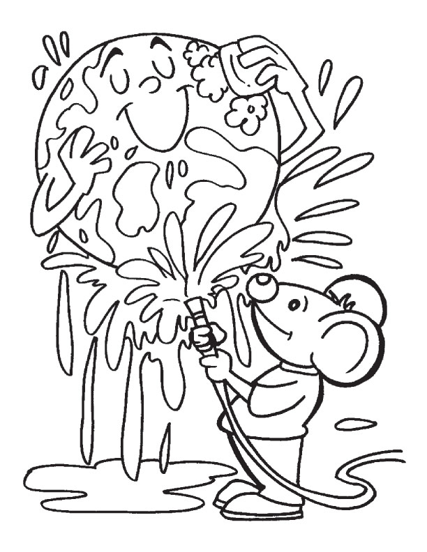 Cleaning The Earth Coloring Page