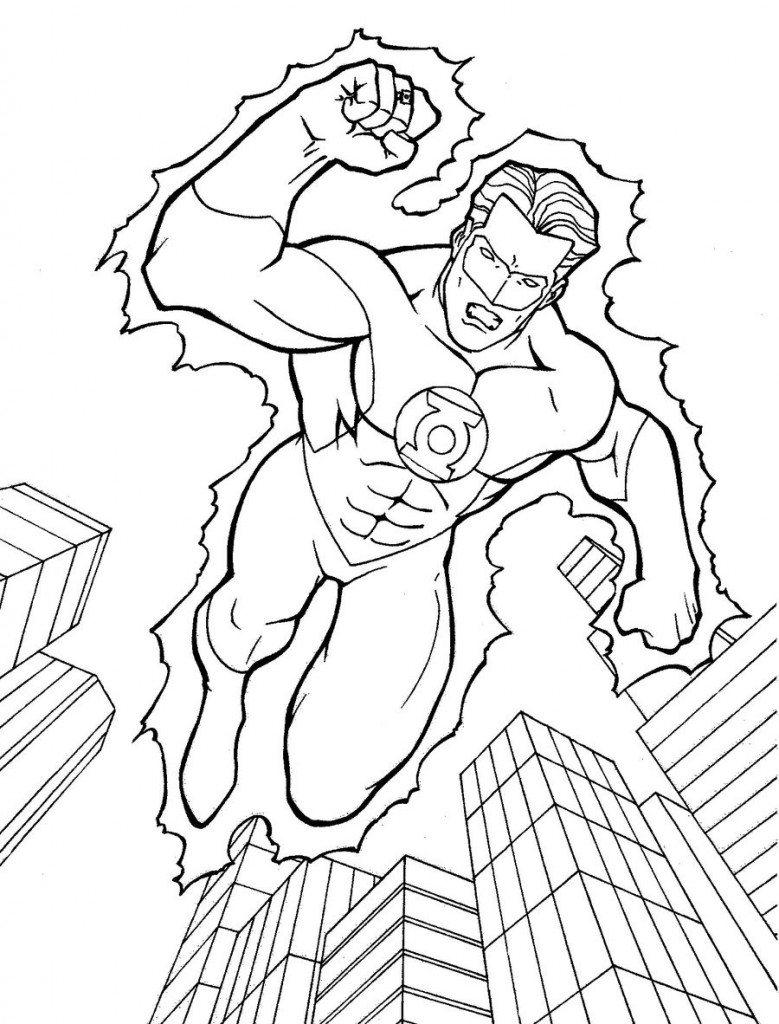 Green Lantern Coloring Pages For Kids