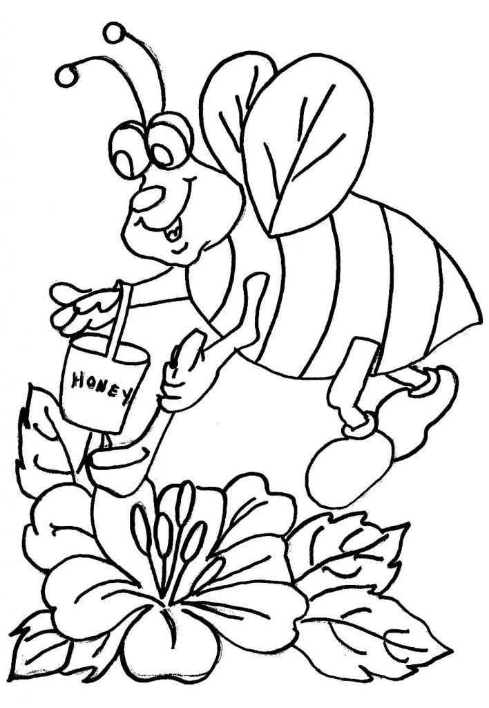 free bee coloring pages - photo#24